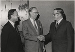 Dean Steinheimer greets Justice Lewis F. Powell Jr.