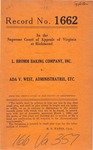 L. Bromm Baking Company, Inc. v. Ada V. West , Administratrix, etc.