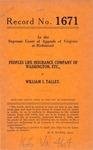 Peoples Life Insurance Company of Washington, D.C., et al. v. William I. Talley