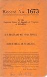 S. F. Pratt and Melvin O. Powell v. Janie F. Miles, an Infant, etc.