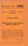 Florence S. Thomas v. The First National Bank of Danville, Executor of J. M. Thomas, deceased