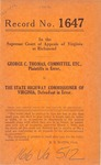 George C. Thomas, Committee, etc. v. The State Highway Commissioner of Virginia