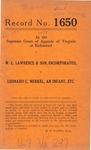 W. L. Lawrence & Son, Inc. v. Leonard C. Merkel, an Infant, etc.
