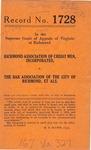 Richmond Association of Credit Men, Inc. v. The Bar Association of the City of Richmond, et al.