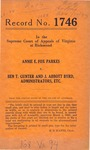 Annie E. Fox Parkes v. Ben T. Gunter and J. Abbott Byrd, Administrator, etc.