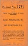 Frank L. Thomasson, Administrator, etc. v. John Stewart Walker, et al.