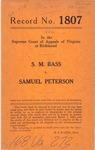 S. M. Bass v. Samuel Peterson