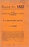 W. A. Page and Holt Page, etc. v. C. A. Wilson