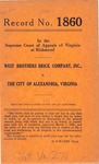 West Brothers Brick Company, Inc. v. The City of Alexandria, Virginia