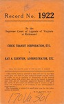 Chick Transit Corporation and Banks Wade v. Ray A. Edenton, Administrator of the Estate of Willis Deavers, deceased