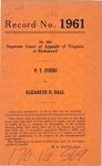 P. T. Stiers v. Elizabeth D. Hall