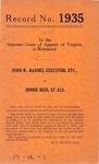 John W. Barnes, Executor, etc. v. Jennie Bess, et al.