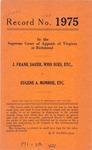 J. Frank Sauer, Who Sues, etc. v. Eugene A. Monroe