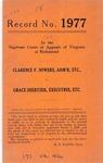 Clarence F. Sowers, Administrator, etc. v. Grace Shertzer, Executrix, etc.