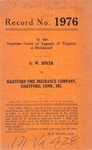 G. W. Spicer v. Hartford Fire Insurance Company, Hartford, Conn., Inc.