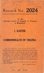I. Kanter v. Commonwealth of Virginia
