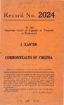 I. Kanter v. Commonwealth of Virginia