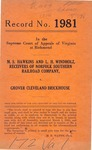 M. S. Hawkins and L. H. Windholz, Receivers of Norfolk Southern Railroad Company v. Grover Cleveland Brickhouse
