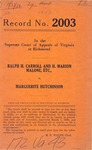 Ralph H. Carroll and H. Marion Malone, etc. v. Marguerite Hutchinson