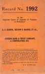 A.E. Harris, Seldon S. Harris, et al. v. Citizens Bank & Trust Company