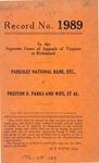Parksley National Bank, etc. v. Preston D. Parks and Wife, et al.