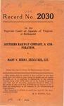 Southern Railway Company v. Mary V. Berry, Executrix