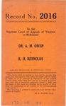 Dr. A. M. Owen v. R. H. Reynolds