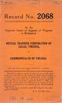 Mutual Transfer Corporation of Galax, Virginia v. Commonwealth of Virginia