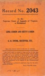 Lena Cohen and Betty Cohen v. G. R. Swink, Receiver