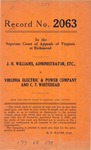 J. H. Williams, Administrator, etc. v. Virginia Electric & Power Company and C. T. Whitehead