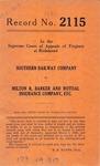 Southern Railway Company v. Milton R. Barker and Mutual Insurance Company, etc.