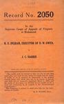 R. E. Ingram, Executor of D. W. Owen, deceased v. J. C. Harris