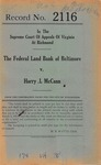 The Federal Land Bank of Baltimore v. Harry L. McCann, Substituted Trustee, et al.