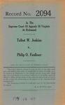 Talbot W. Jenkins v. Philip O. Faulkner, et al.