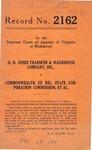 D. D. Jones Transfer & Warehouse Company, Inc. v. Commonwealth ex rel. State Corp. Commission, et al.