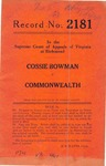 Cossie Bowman v. Commonwealth of Virginia
