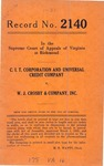 C.I.T. Corporation and Universal Credit Company v. W. J. Crosby and Company, Inc.