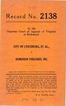 City of Lynchburg, et al. v. Dominion Theatres, Inc.
