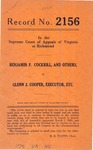 Benjamin F. Cockrill, et al. v. Glenn J. Cooper , Executor, etc.
