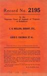 C. O. Mullins, Sheriff, etc. v. Louis E. Coleman, et al.