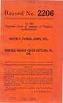 Hattie V. Parker, Administratrix, etc. v. Norfolk Orange Crush Bottling Company, Inc.