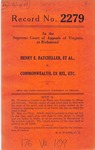 Henry E. Batcheller, et al. v. Commonwealth, ex rel., etc.