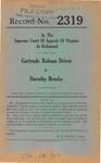 Gertrude Robson Driver v. Dorothy Brooks