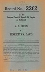 J. S. Eaton v. Henrietta V. Davis