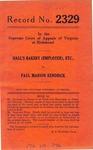Hall's Bakery (Employer), etc. v. Paul Marion Kendrick