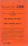 Hope Morrison, et al. v. Carrie B. Morrison, Administratrix, etc.