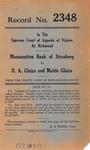 Massanutten Bank of Strasburg v. D. A. Glaize and Mattie Glaize