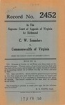C. W. Saunders v. Commonwealth of Virginia