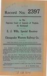 E. J. Wills, Special Receiver v. Chesapeake Western Railway Company