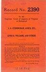 S. A. Cunningham, Administrator, etc. v. Lewis B. Williams, et al.
